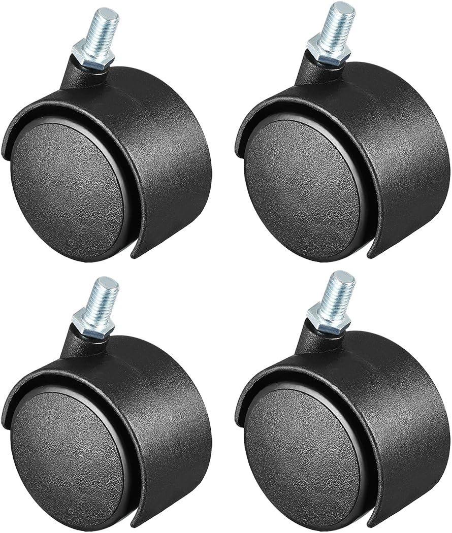 uxcell Swivel Caster Wheels Nylon 360 Degree Threaded Stem Caster Wheel, M8 x 15mm, 115lb Total Capacity, Pack of 4