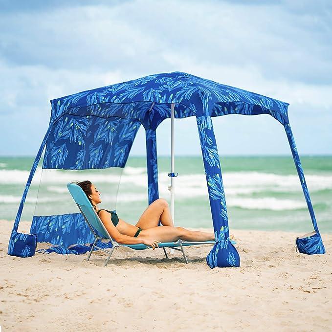 Franjas de protecci/ón UV Ammsun 2017/- Sombrilla de playa port/átil y plegable de 182 cm con pantalla inclinable Revestimiento interior plateado FPS 50+