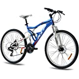 """26"""" KCP MOUNTAIN BIKE BICYCLE ATTACK 21 speed SHIMANO UNISEX blue white - (26 inch)"""