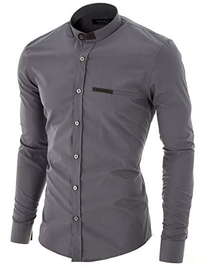 Moderno Chemise Casual Homme Slim Fit Col Mao Manches Longues