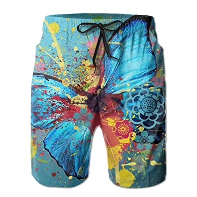 Lalamin Mam Quick Dry Beach ShortsMen's Watercolor Print of Butterfly Swimming Trunks with Pockets