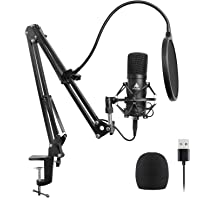 USB Microphone Kit 192KHZ/24BIT Plug & Play MAONO AU-A04 USB Computer Cardioid Mic Podcast Condenser Microphone with Professional Sound Chipset for Laptop PC Karaoke, Skype, YouTube, Gaming Recording