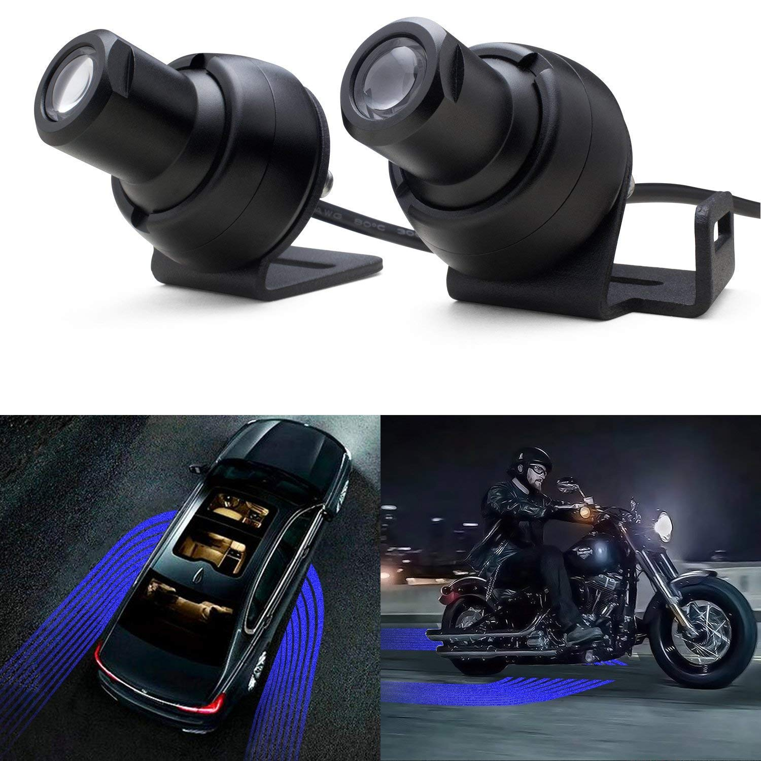Blue LED Welcome Light Angel Wings Light Car Door Exterior Light Ghost Shadow Lights Compatiable with All Cars /& Motorcycles