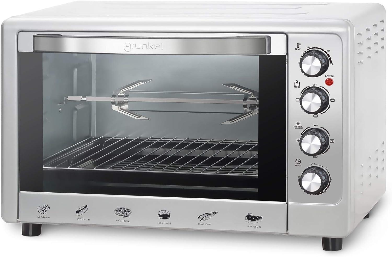 Grunkel - HR-48RUSTIC - Horno eléctrico multifunción de sobremesa de 48l con 3 funciones de calor y selector de temperatura hasta 230ºC. Incluye ...