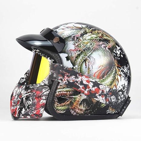 Tnosky Tótem del dragón del cráneo Motocross Retro Cascos Personalizado Multifunción Parasol extraíble con Gafas Ciclismo