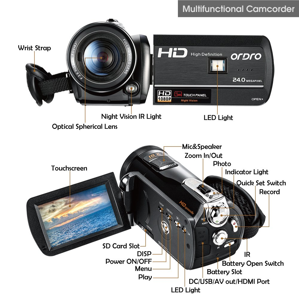 ORDRO HDV-D395 Night Vision Camcorder WiFi Full HD 1080P 18X Zoom Digital Video Camera 3.0Inches LCD Screen Webcam HDMI Remote Control by ORDRO (Image #2)