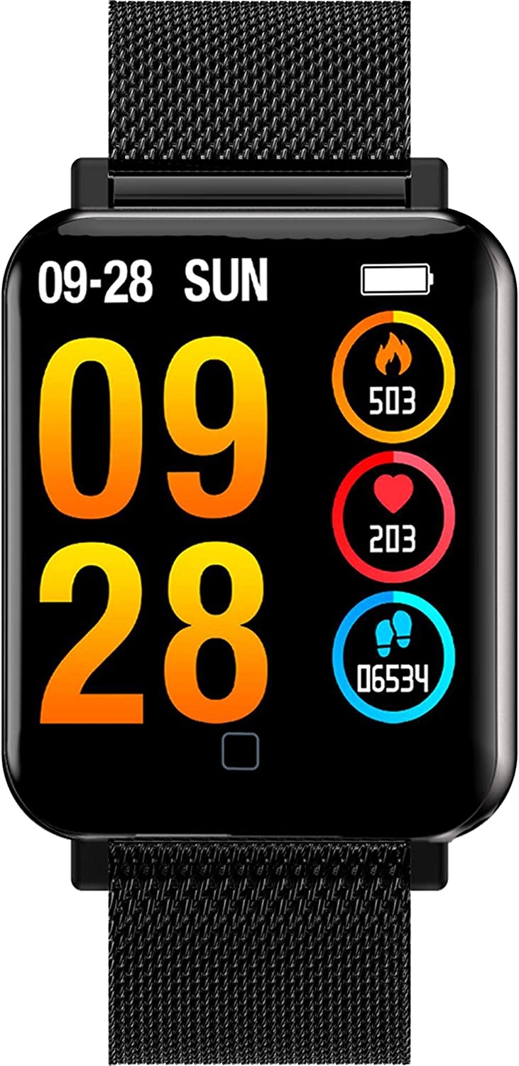 "Smart Watch Fitness Trackers Heart Rate Sleep Monitor Step Calorie Counter Music Control 1.4"" Full Touch Screen Sport Pedometer Smartwatch"