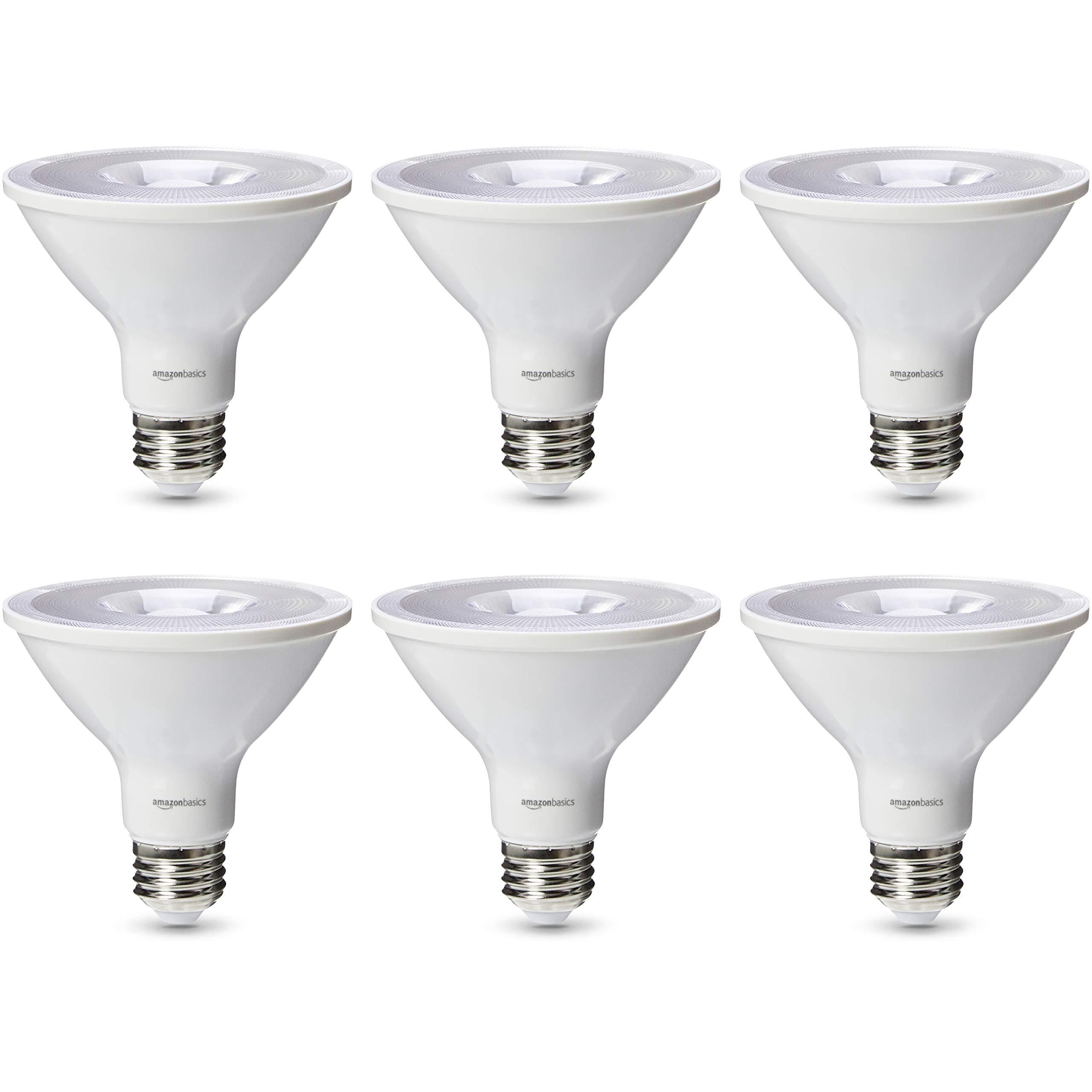 AmazonBasics Commercial Grade LED Light Bulb | 75-Watt Equivalent, PAR30S, Soft White, Dimmable, 6-Pack