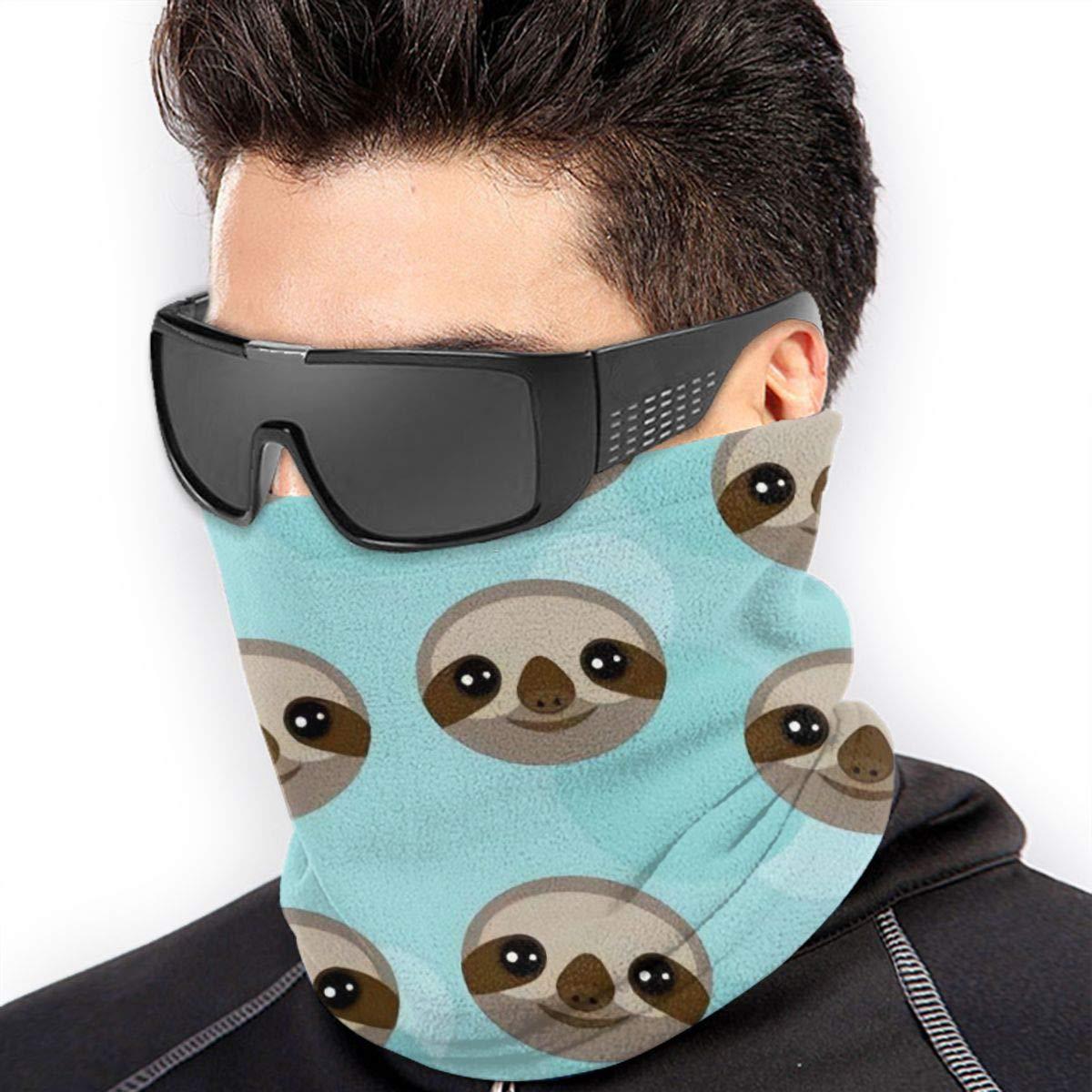 Neck Gaiter,Winter Face Mask,Ear Warmer Headband,Three toed Sloth Muzzle On Blue,Headwear For Windproof Dust Skiing