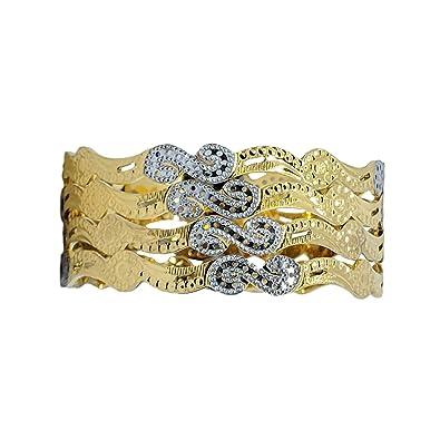 4f2e7225082 JJ Bangles 1 Gram Gold Plated Golden and Silver Embossed Designed Bangles  Set of 4 (