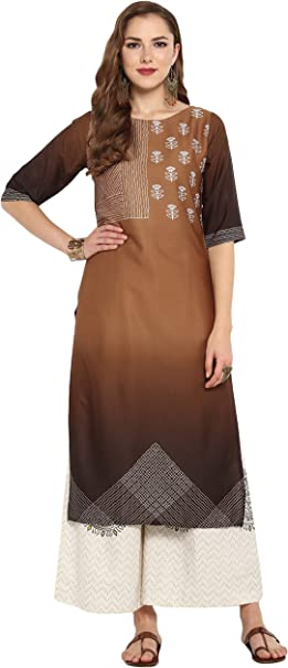 Janasya Indian Tunic Tops Crepe Kurti Set for Women