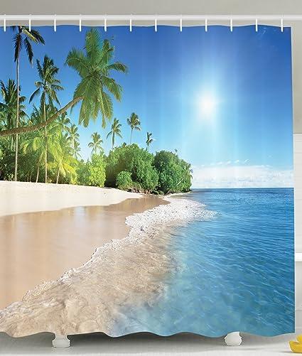 Ambesonne Ocean Shower Curtain Decor By, Tropical Palm Trees On A Sunny  Island Beach Scene