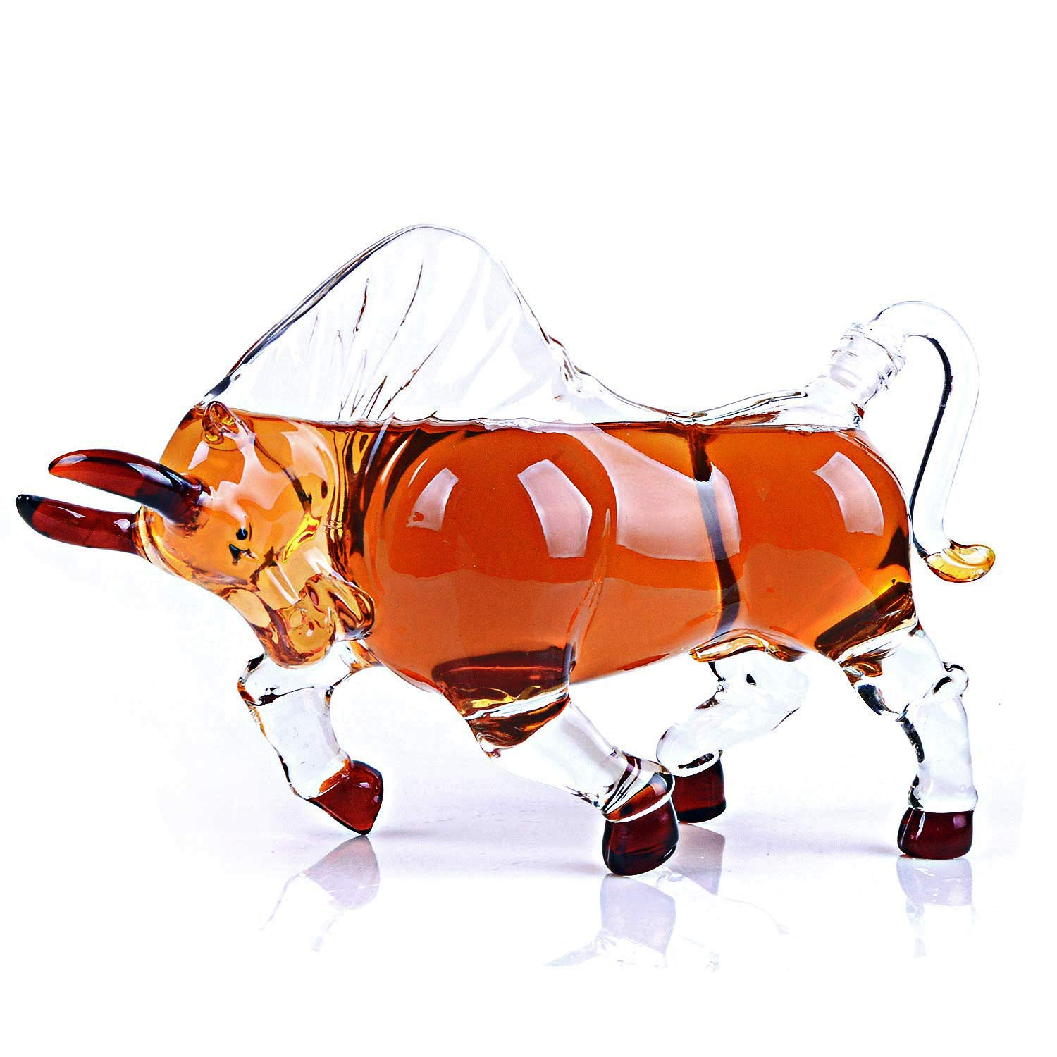 Animal Decanters Large 35-Oz Charging Bull Glass Figurine, Lead Free Mouthblown Liquor Decanter For Bourbon, Whiskey, Scotch, Rum, Tequila