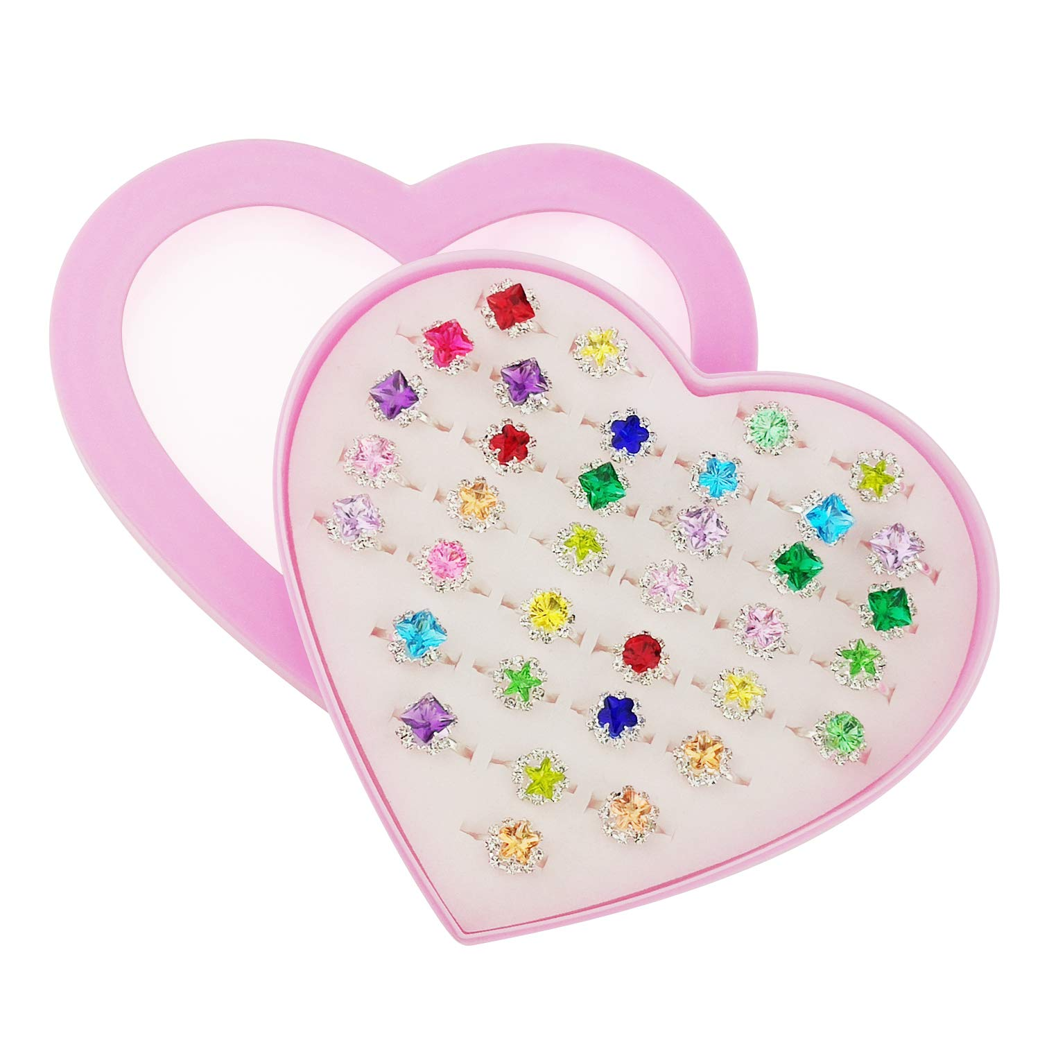 PinkSheep Little Girl Jewel Rings in Box 24 Surface Ring Girl Pretend Play and Dress Up Rings Adjustable No Duplication