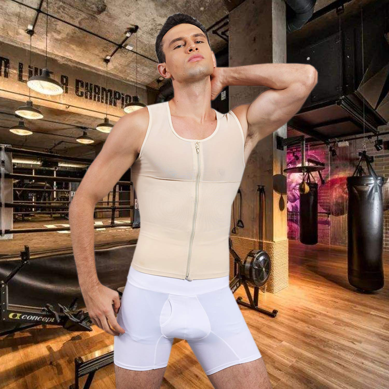 SLIMBELLE Men Compression Seamless Slimming Vest Waist Trainer Tank Top Control Tummy Hide Gynecomastia Man Boobs