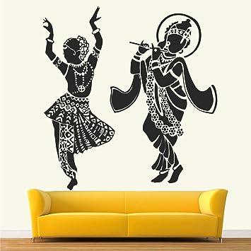 Buy Stickme Lord Radhe Krishna Hindu God Radha Krishna With Flute Love Romantic Creative Colorful Wall Sticker Sm701 Pvc Vinyl 90cm X 90 Cm Online At Low Prices In India Amazon In