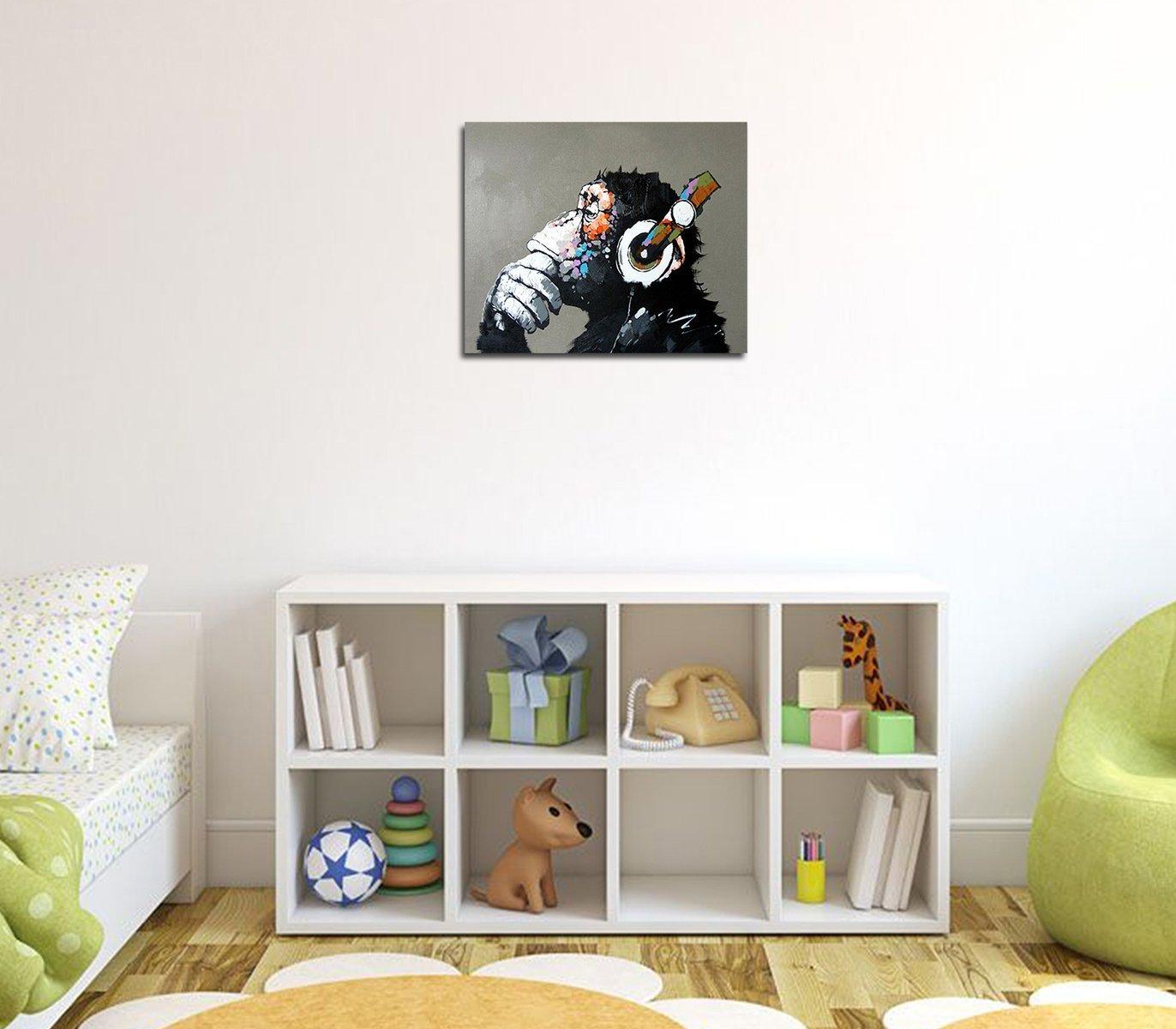 Fokenzary pintado a mano pintura lienzo Pop Art Cool Ape enmarcado listo para colgar fondo gris Size M 20x24in: Amazon.es: Hogar