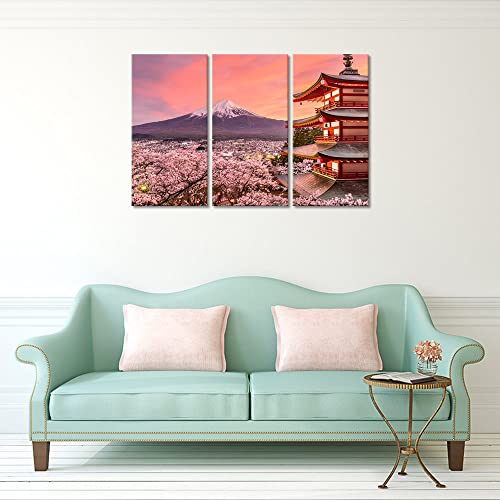 3 Panels Landscape Wall Decor Japan Chureito Pagoda And Mt. Fuji In The Spring