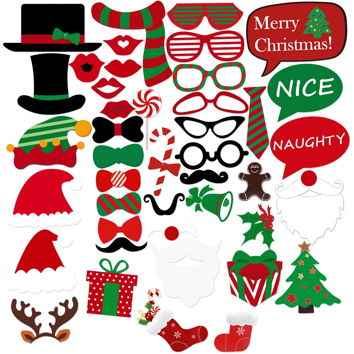 BESTOYARD Christmas Photo Booth Props with Glasses Moustache Red Lips Deer Horn Santa Hat for Party Supplies Party Favors 43 pieces