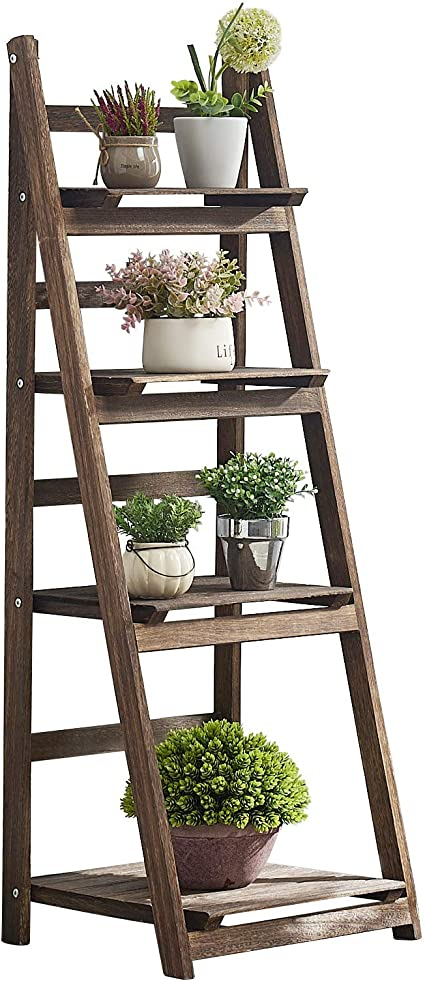 Plant Rack 4 Tiers Brown RHF Foldable Plant Shelf Lightweight Rustic Wood Plant Ladder Stand Indoor Free Standing Display Shelf for Patio Room Corner