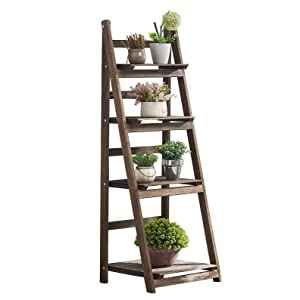 RHF Foldable Ladder Shelf, Plant Stand, Indoor Flower Pot Stand, Flower Pot Ladder, Free Standing, Patio Rustic Wood Stand with Shelves ,4 Tier Stand, Pot Rack (Renewed)
