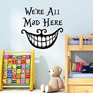 Halloween Smiling Face Thriller Wall Stickers, Halloween Wall Decals, Sayings Words We're All Mad Here Quotes Art Mural for Living Room Window Clings Halloween Party Decoration,Vinyl Gothic Wall Decor