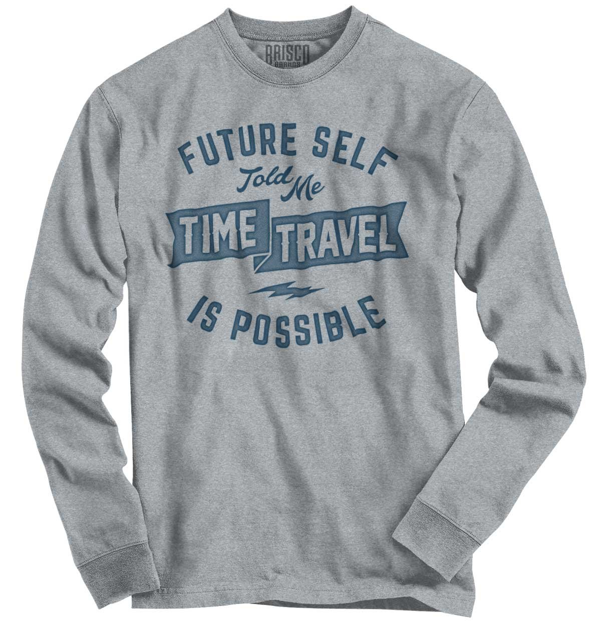 Brisco Brands Future Self Time Travel Funny Shirt Sarcastic Cute Youth Long Sleeve