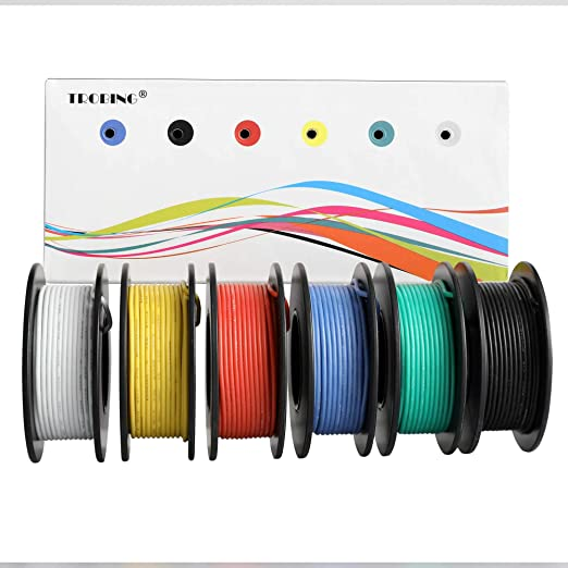 Trobing Hook Up Wire Kit (Stranded Wire Kit) 24 AWG UL3132-6 Colors on tube terminals, tube dimensions, tube assembly, tube fuses,