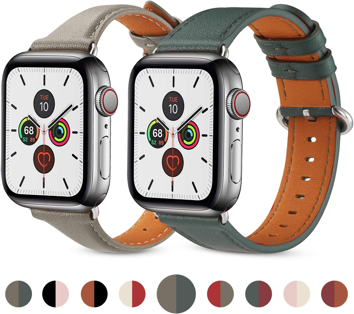 (2PACK) Pierre Case Leather Compatible with Apple Watch Band 38mm 40mm, Genuine Leather Band Slim & Thin Wristband for iWatch Series 6/5/4/3/2/1 (Midnight Blue&Grey, 38mm/40mm)