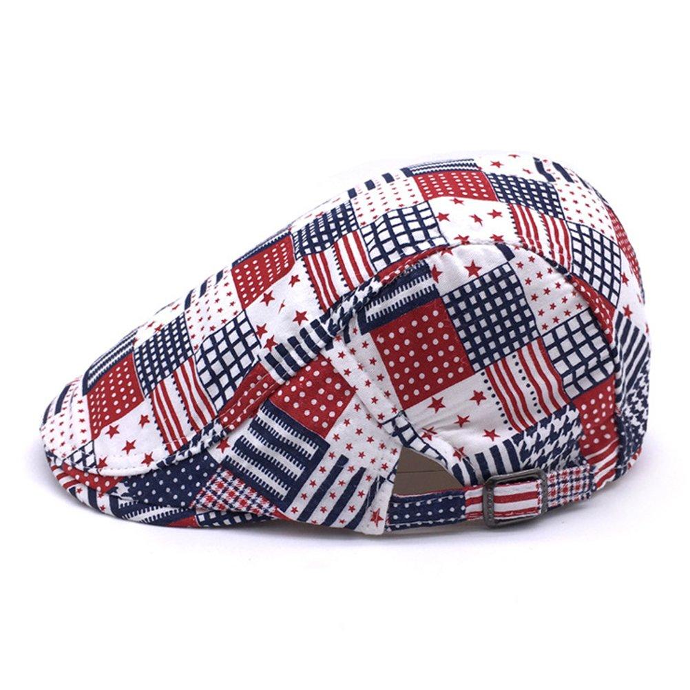 DaShanRen Men and Women Red Plaid newsboy Caps Cotton Flat IVY Driving Hat
