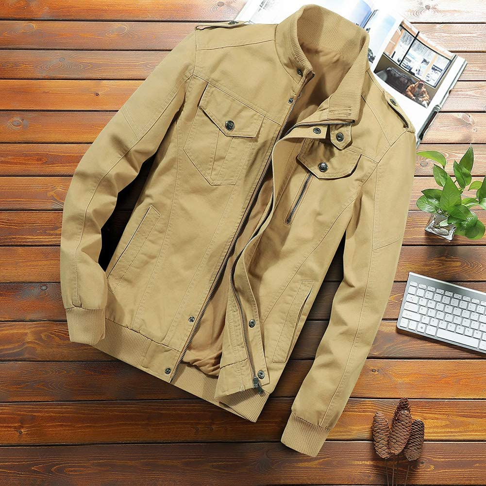 Hmlai Clearance Mens Cotton Military Jackets Casual Slim Fit Lightweight Waterproof Windbreaker Front Zip Outdoor Coat