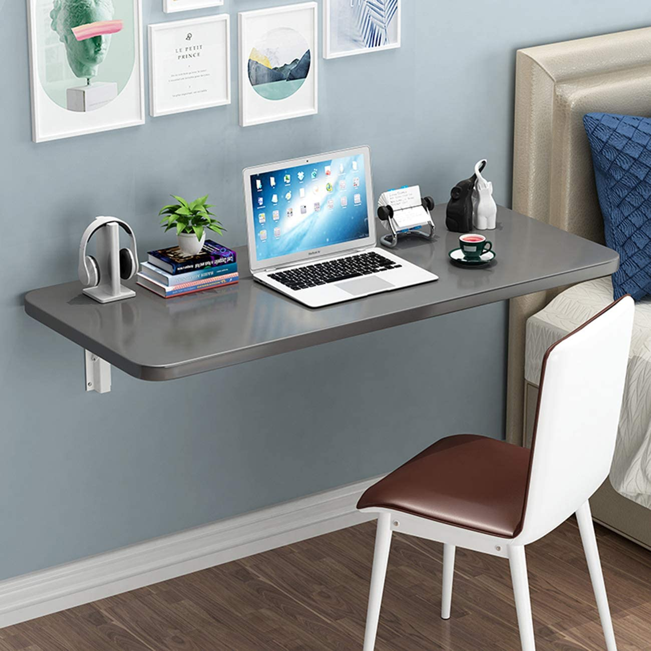 Wall Mounted Floating Folding Desk Computer Table Workbench Dining Drop Leaf Table Fold Away Writing Desk, Home Office Hanging Desk - Space Saving for Small Spaces Study, Bedroom, Bathroom or Balcon