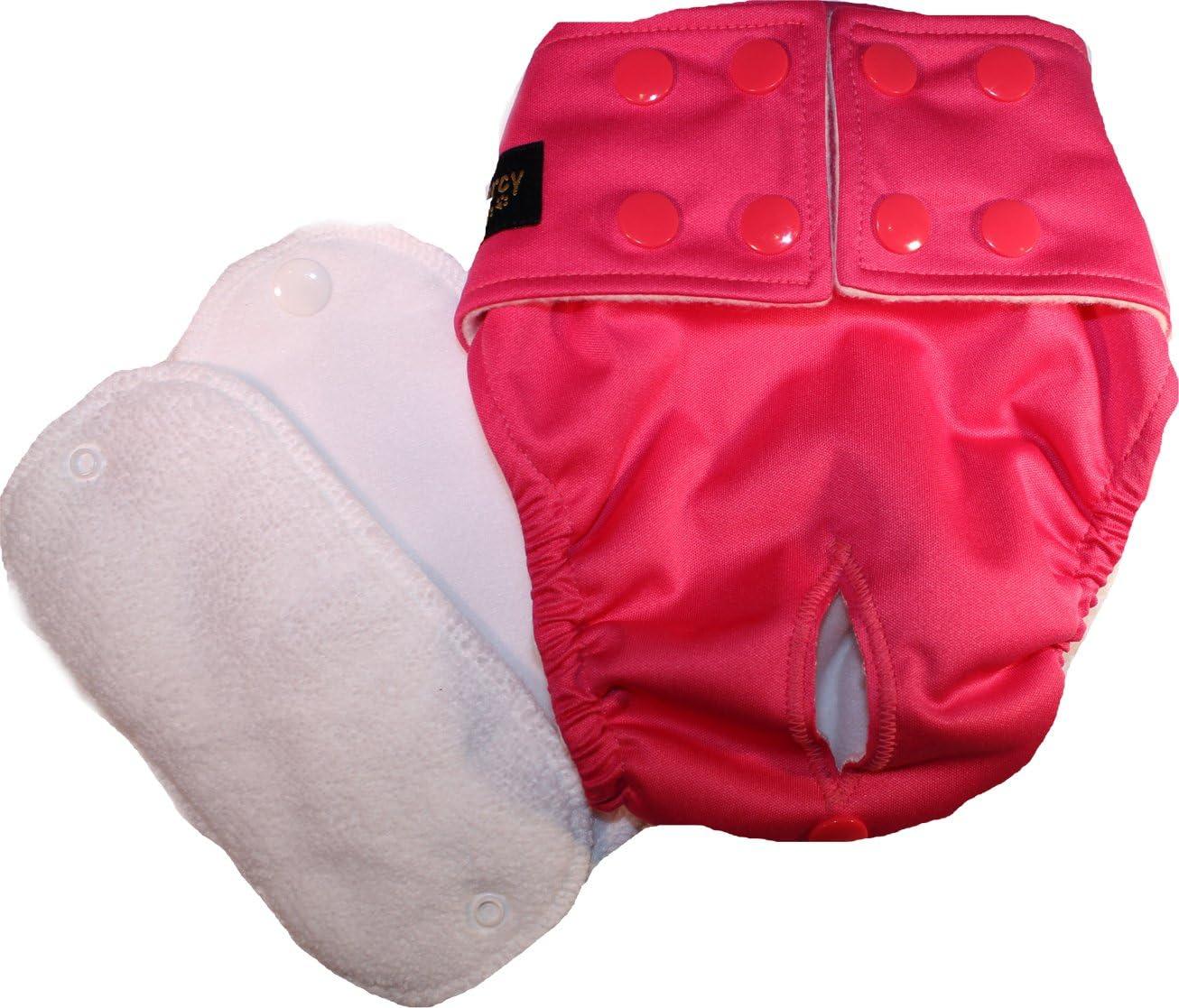 Glenndarcy Female Dog Nappy I Urine Incontinence I Cerise XL Pants and 2 Washable Pads I Poppers