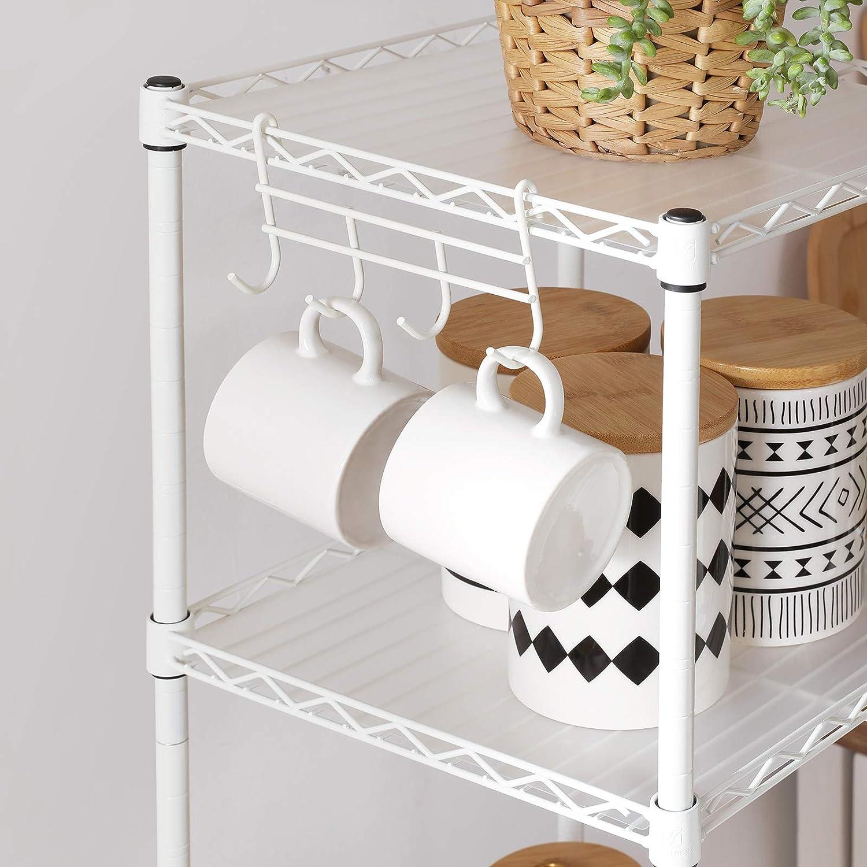 charge 100 kg extensible avec 5 planches en plastique SONGMICS /Étag/ère pour salle de bain /à 5 niveaux 30 x 30 x 123,5 cm /Étag/ère d/'angle m/étallique robuste crochets amovibles Argent LGR023S01