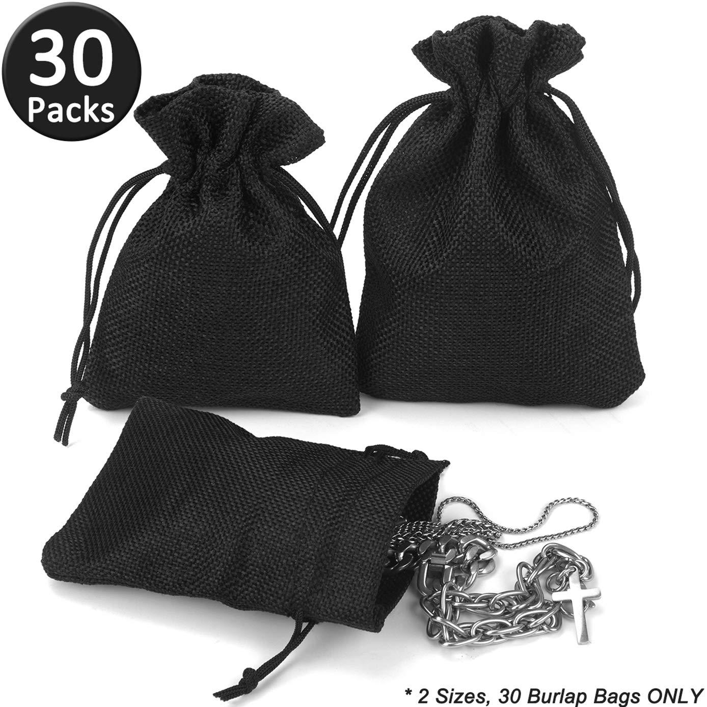 ADVcer Burlap Drawstring Bags Set, 4.8 x 3.5/5.5 x 4, Sacks 30 for Small Favor, Gift, Treat, Goodie, Party, Jewelry, Little Sachet, Coffee Bean, Mini Decor, Craft, Candy, Tea Storage, Gadget (Black)