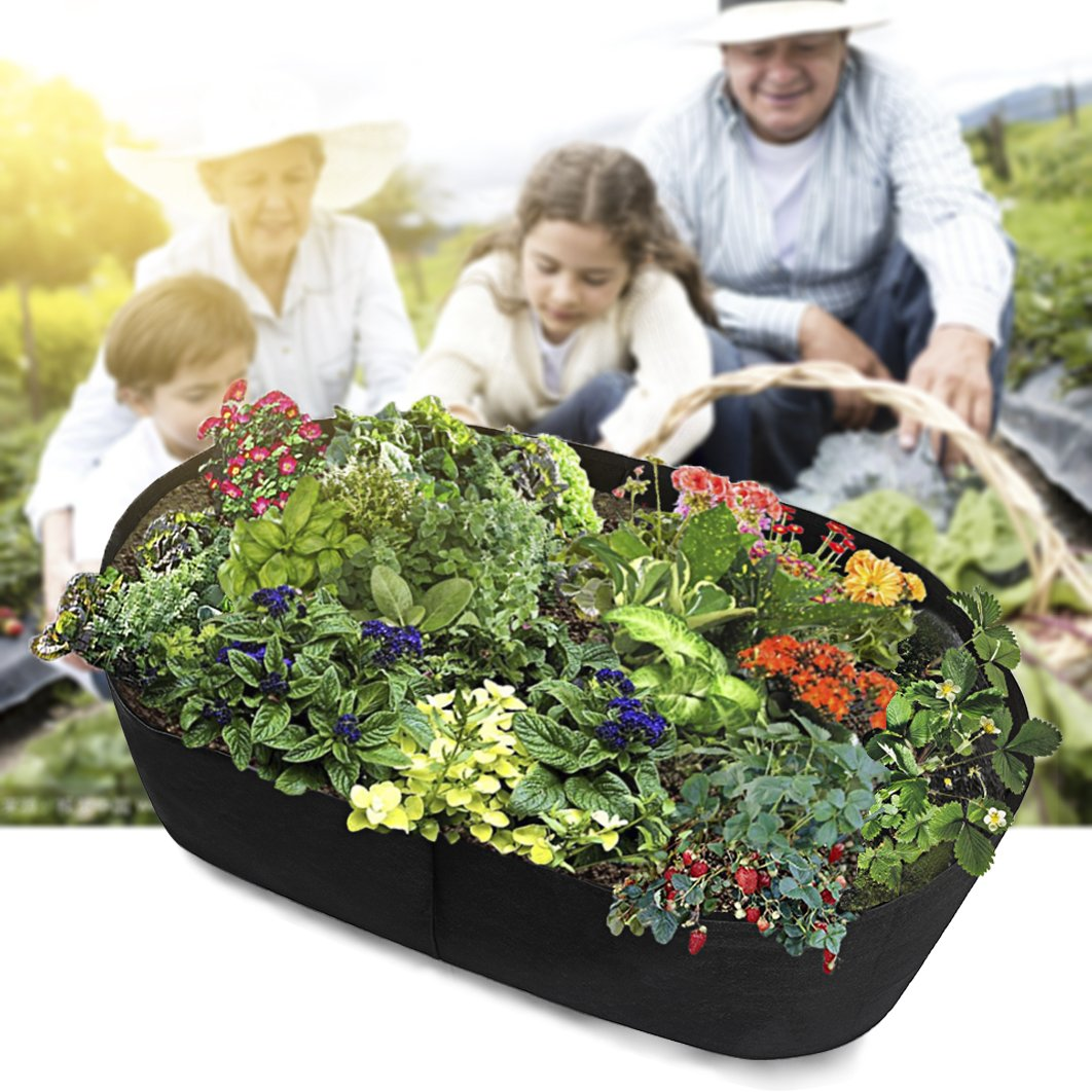 Fabric Raised Planting Bed, Garden Grow Bags Herb Flower Vegetable Plants Bed Rectangle Planter 2'x4'