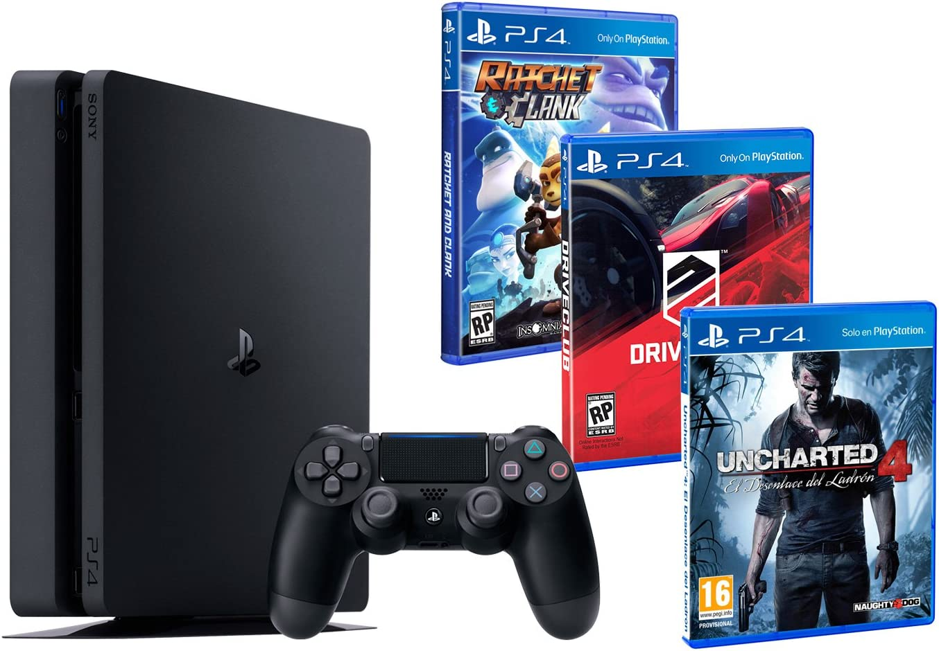 PS4 Slim 1TB PACK FAMILIAR de 3 Juegos: Ratchet & Clank, Uncharted 4, Driveclub: Amazon.es: Videojuegos