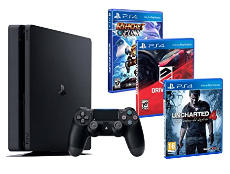 PS4 Slim 1TB PACK FAMILIAR de 3 Juegos: Ratchet & Clank, Uncharted 4, Driveclub