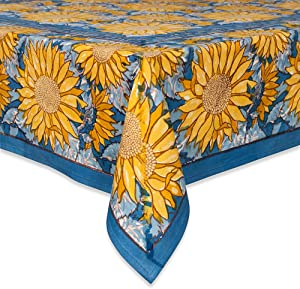 Couleur Nature Sunflower Tablecloth, 59-inches by 86-inches, Yellow/Blue