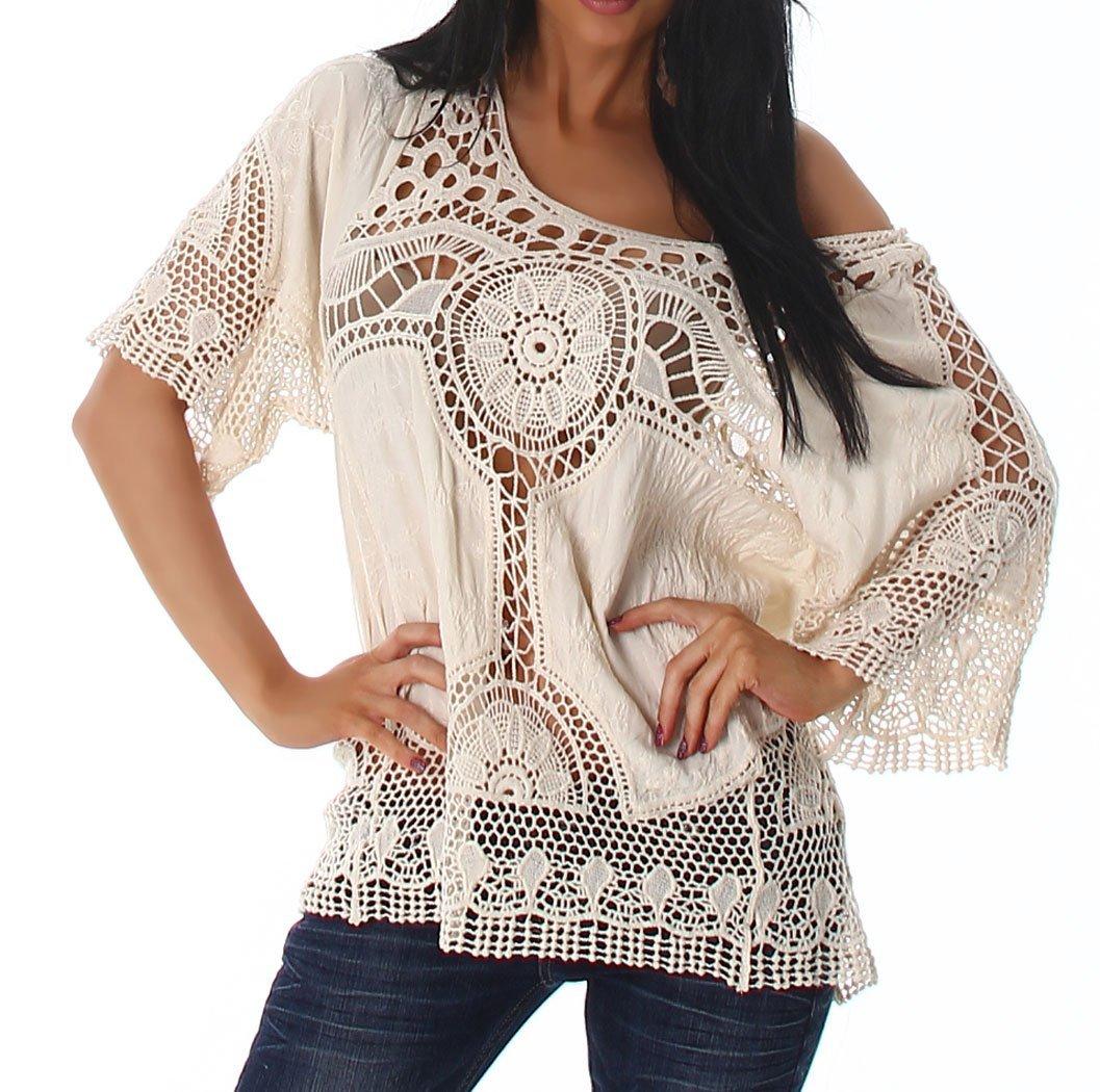 Voyelles Punto para Mujer túnica Blusa Camisa de punto boho vintage ganchillo patrón 36 38 40: Amazon.es: Ropa y accesorios