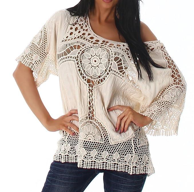 Punto para Mujer túnica Blusa Camisa de Punto Boho Vintage Ganchillo patrón 36 38 40 Beige