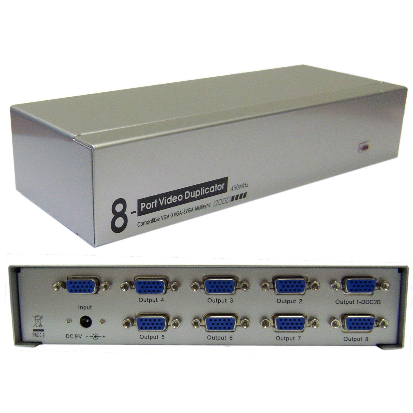 GOWOS VGA Video Splitter, 1 PC to 8 Monitors, 450MHZ by GOWOS