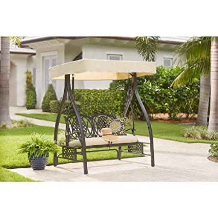 Amazon Com Hampton Bay Belcourt Metal Outdoor Swing With Stand And