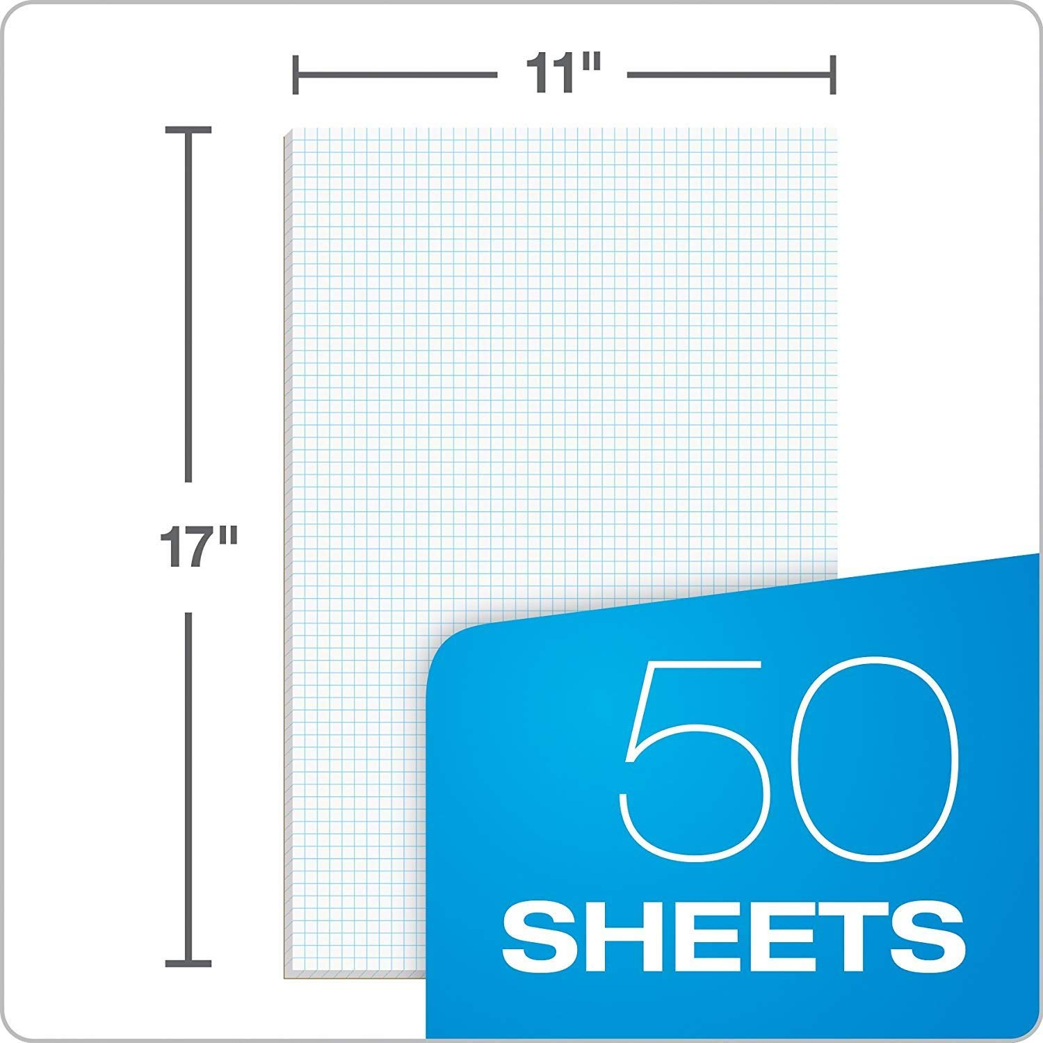 Ampad Quadrille Double Sided Pad, 11 x 17, White, 4x4 Quad Rule, 50 Sheets, 10 Pads, 500 Sheets Total (22-037) by Ampad (Image #5)