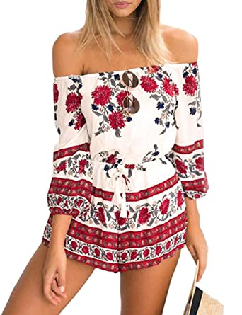 0ea1405ca3f9 Amazon.com  Dicesnow Women Chiffon Off Shoulder Floral Print Tassel  Drawstring Waist Short Jumpsuit  Clothing