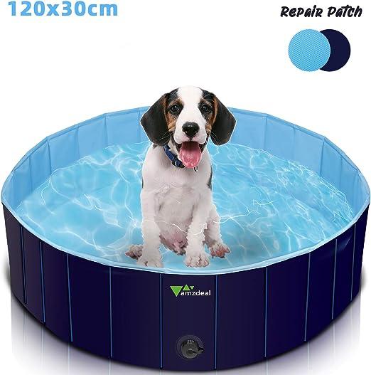 amzdeal Piscina para Perros - Bañera Plegable para Mascotas, Piscina Grande Resistente y Estable, PVC Antideslizante, Múltiples Usos para Mascotas y Niños φ120x30cm: Amazon.es: Productos para mascotas
