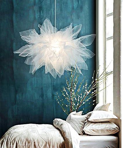 Créatif Suspension Lampe Pendante Romantique en Blanc Tulle ...