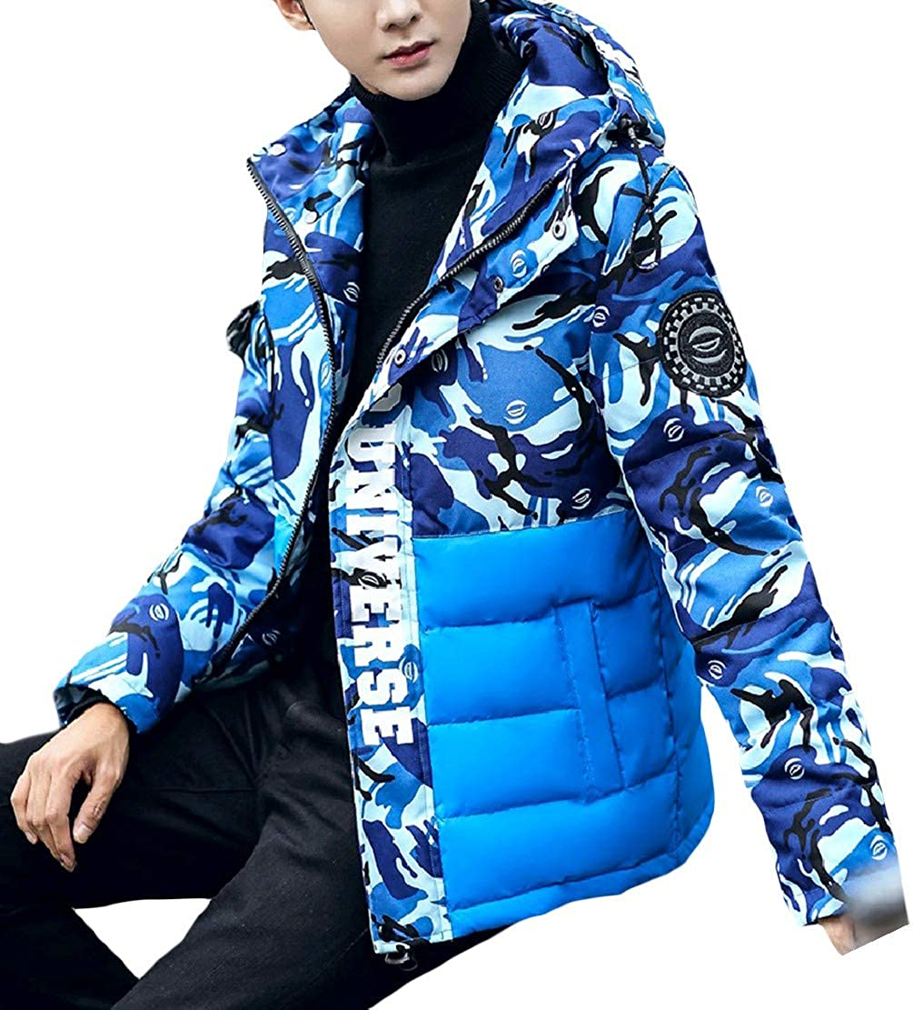 Tootless-Men Hood Mid Long Plus Size Winter Warm Camouflage Down Parka