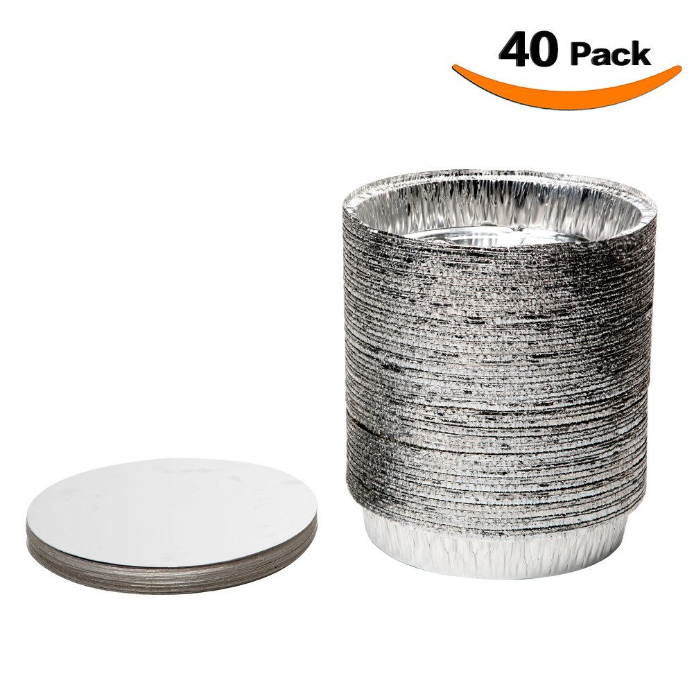 XIAFEI 9 inch Round Disposable Aluminum Foil Pans with Board Lids (Pack of 40)