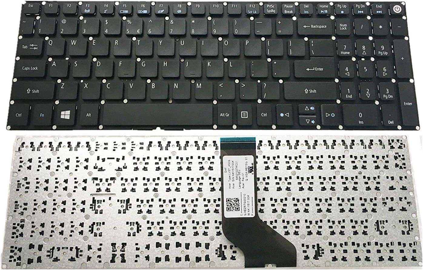 Replacement Keyboard Without Frame for Acer Aspire E5-553G E5-574 E5-574G E5-574T E5-574TG E5-575 E5-575G E5-575T E5-722G E5-752, US Layout Black Color